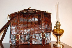 alligator leather briefcase, gator skin, hide